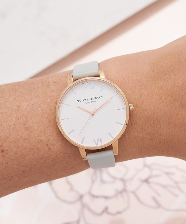 OLIVIA BURTON LONDON  Big Dial Grey & Rose Gold Watch OB16BDV02 – Big Dial Round in White and Grey - Other view