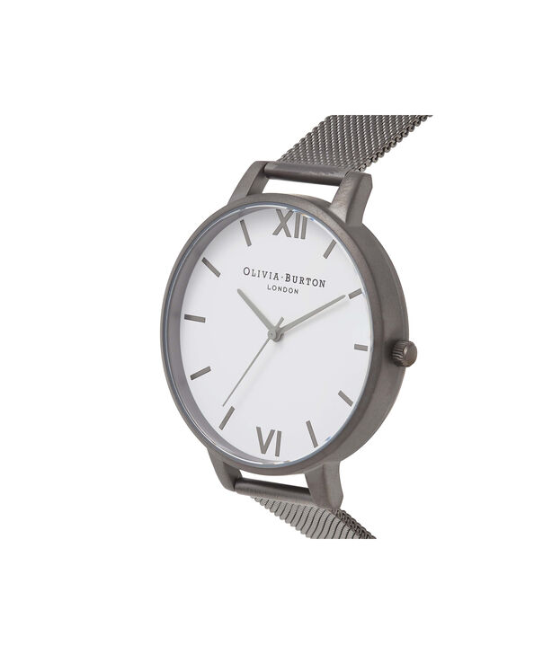 OLIVIA BURTON LONDON  Big Dial Gunmetal Mesh Watch OB16BDW06 – Big Dial Round in White and Gunmetal - Side view