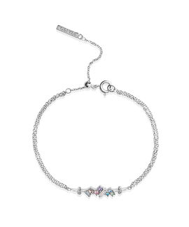 Rainbow Bee Chain Bracelet Silver