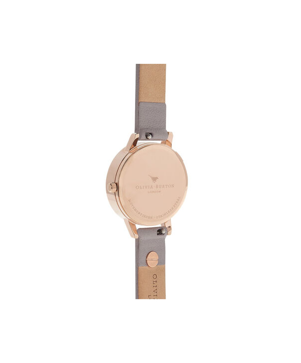 OLIVIA BURTON LONDON  3D Bee Embellished Strap Grey Lilac & Rose Gold Watch OB16ES11 – Midi Dial Round in Rose Gold and Grey Lilac - Back view