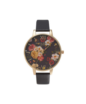 OLIVIA BURTON LONDON  Winter Garden Black & Gold Watch OB14WG01 – Big Dial Round in Floral and Black - Front view