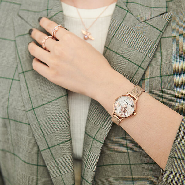 OLIVIA BURTON LONDON  Marble Floral Rose Gold Mesh Watch OB16CS06 – Midi Dial in White and Rose Gold - Other view