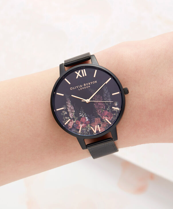 OLIVIA BURTON LONDON  After Dark Matte Black & Rose Gold Watch OB16AD29 – Big Dial Round Black - Other view