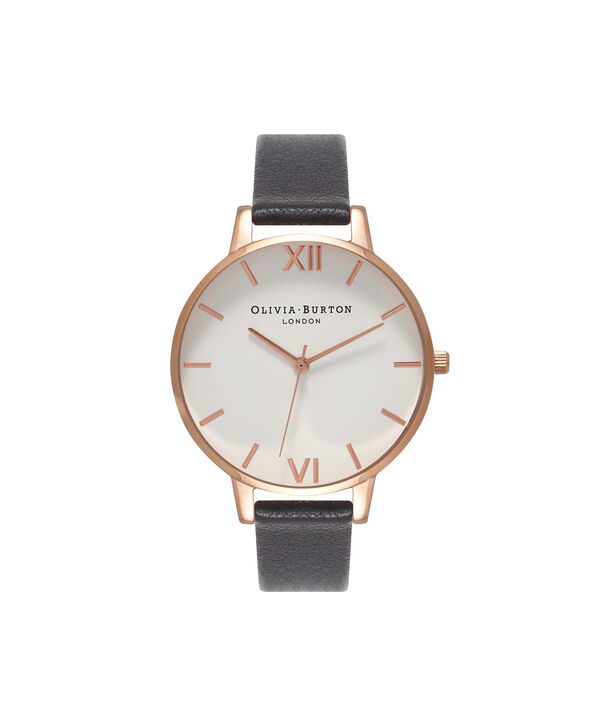 OLIVIA BURTON LONDON  White Dial Black And Rose Gold Watch OB16BDW09 – Big Dial Round in White and Black - Front view