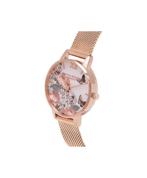 OLIVIA BURTON LONDON  Midi Signature Floral Rose Gold Mesh Watch OB16FS91 – Midi Dial in Floral and Rose Gold - Side view
