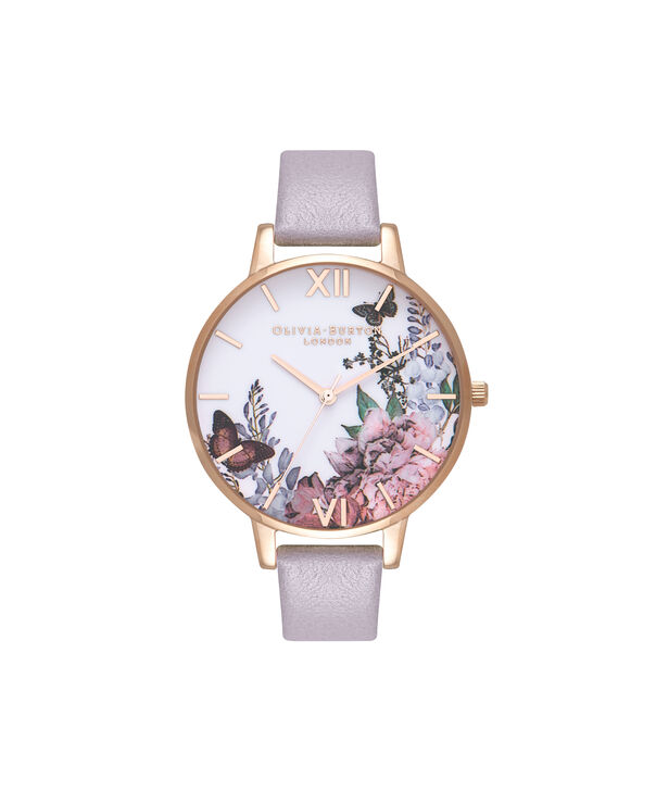 OLIVIA BURTON LONDON  Winter Garden Grey Lilac & Rose Gold Watch OB16WG34 – Big Dial in White and Grey Lilac - Front view