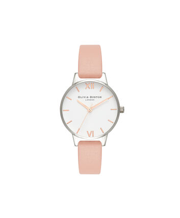 OLIVIA BURTON LONDON  Midi White Dial Dusty Pink, Silver & Rose Gold Watch OB16MDW30 – Midi Dial Round in White and Dusty Pink - Front view