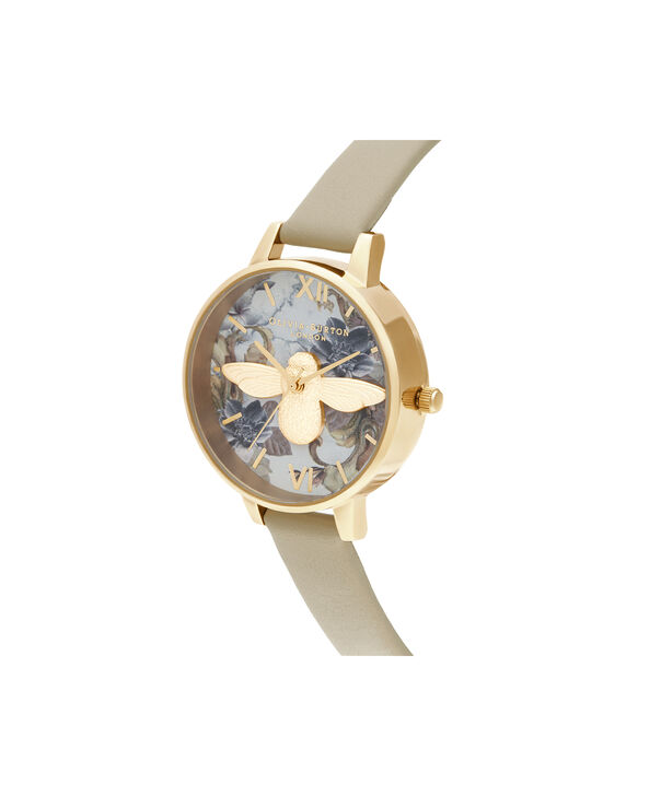 OLIVIA BURTON LONDON Marble Florals Demi 3D Bee Sand & GoldOB16CS22 – Demi Dial In Brown And Gold - Side view
