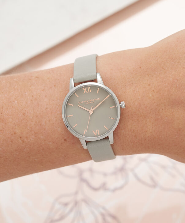OLIVIA BURTON LONDON Midi Grey Dial Grey Watch, Rose Gold & SilverOB16MD79 – Midi Dial Round in Grey - Other view