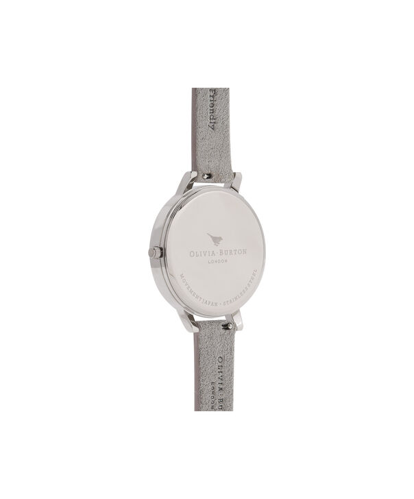OLIVIA BURTON LONDON  Eco Friendly Grey Lilac, Rose Gold & Silver OB16VE13 – Big Dial Round in Silver , Rose Gold and Grey - Back view