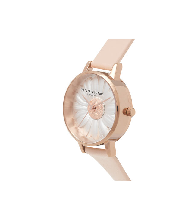OLIVIA BURTON LONDON  3D Daisy Nude Peach & Rose Gold Watch OB16FS87 – Midi Dial Round in White and Peach - Side view