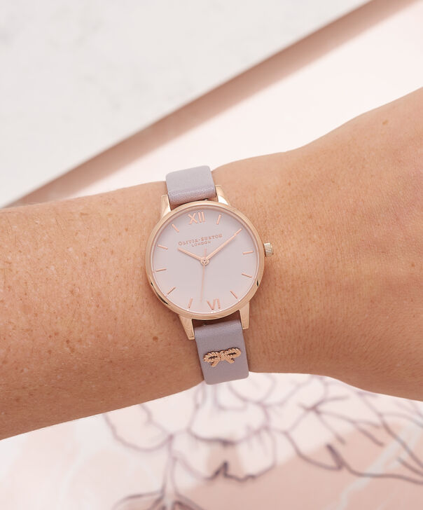 OLIVIA BURTON LONDON Vintage Bow Grey Lilac & Rose Gold Watch OB16VB05 – Midi Dial in Blush and Grey Lilac - Other view