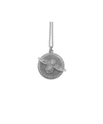 OLIVIA BURTON LONDON  3D Bee & Coin Necklace Silver OBJ16AMN10 – 3D Bee Disc Necklace - Front view