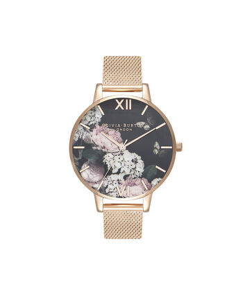OLIVIA BURTON LONDON Signature Floral Black Dial & Rose Gold MeshOB16WG55 – Big Dial In Rose Gold And Rose Gold - Front view
