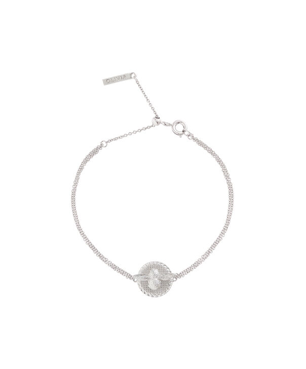 OLIVIA BURTON LONDON 3D Bee & Coin Chain Bracelet Silver OBJ16AMB24 – 3D Bee Chain Bracelet - Front view