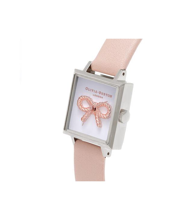 OLIVIA BURTON LONDON  3D Midi Square Dial Nude Peach, Rose Gold & Silver Watch OB16VB02 – Midi Dial Square in White and Peach - Side view