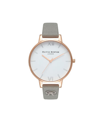 OLIVIA BURTON LONDON  Stud Grey, Silver & Rose Gold Watch OB16VB06 – Big Dial Round in White and Grey - Front view