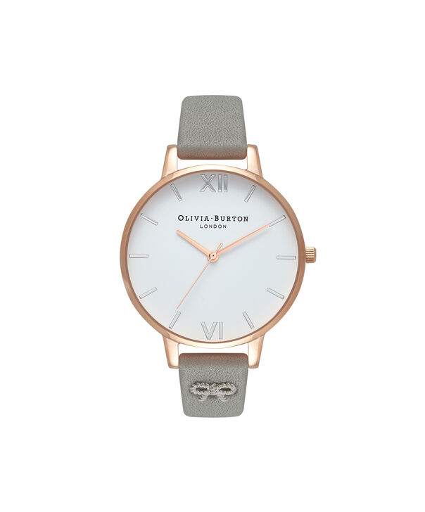 OLIVIA BURTON LONDON  Vintage Bow Stud Grey, Silver & Rose Gold Watch OB16VB06 – Big Dial Round in White and Grey - Front view