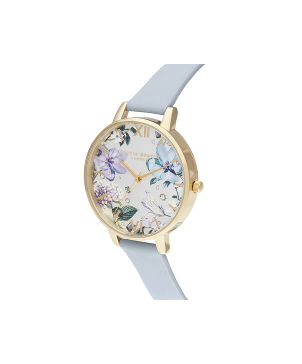 OLIVIA BURTON LONDON Bejewelled Florals Big Dial Chalk Blue & GoldOB16BF21 – Demi Dial In Blue And Gold - Side view