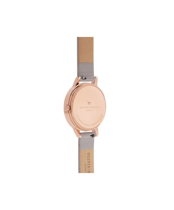 OLIVIA BURTON LONDON English Garden Grey Lilac & Rose Gold Watch OB16ER13 – Midi Dial in White and Grey Lilac - Back view