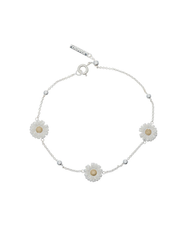 OLIVIA BURTON LONDON Daisy & Ball Chain Bracelet Silver & GoldOBJ16DAB01 – 3D Daisy Chain Bracelet - Front view