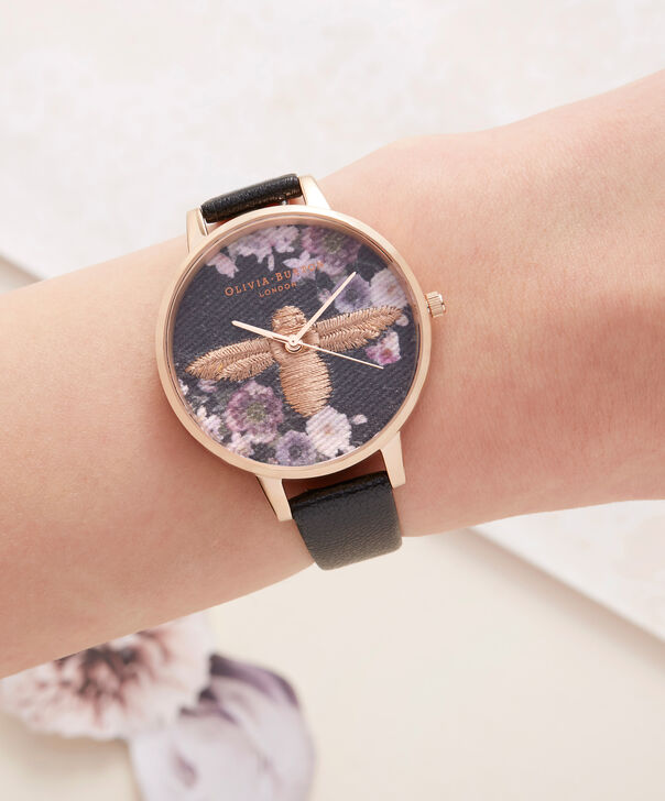 OLIVIA BURTON LONDON  Embroidered Dial 3D Bee Black and Rose Gold Watch OB16EM02 – Big Dial Round in Floral and Black - Other view