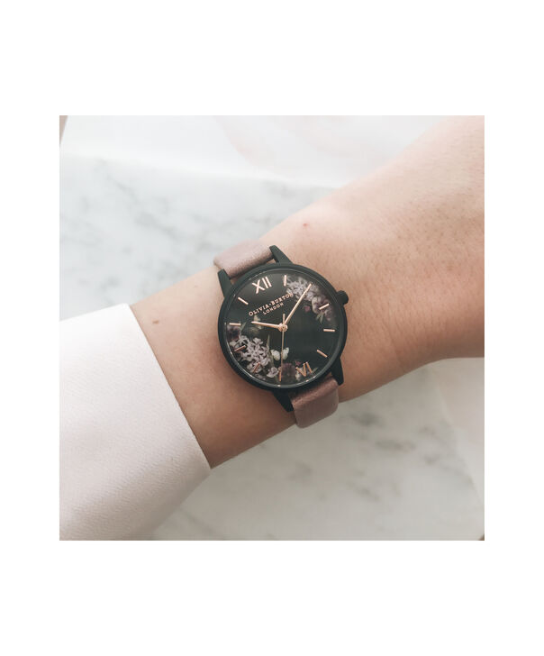 OLIVIA BURTON LONDON Blooms & Butterflies Garden Rose Suede And Rose GoldOB16EX109 – Midi Dial In Rose Suede And Ip Black And Rose Gold - Other view