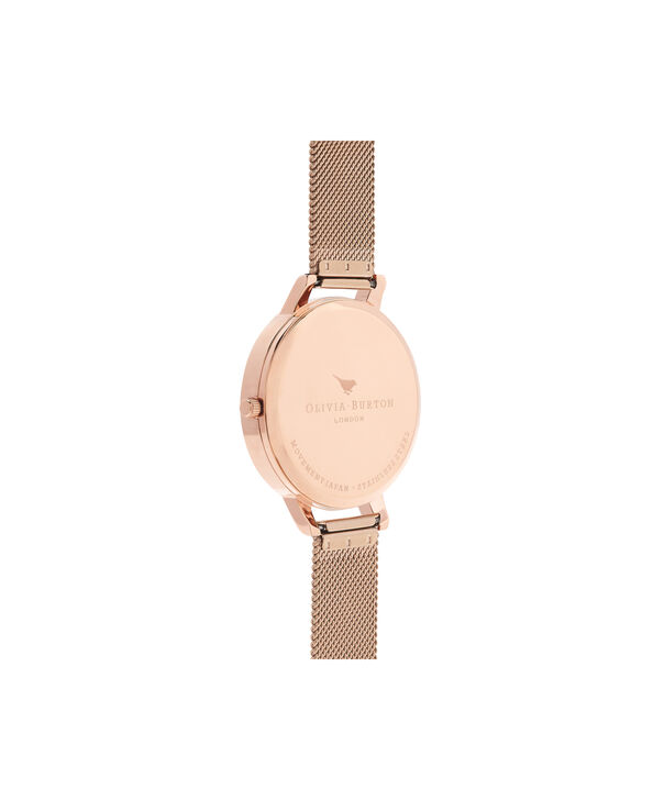 OLIVIA BURTON LONDON  Midi Signature Floral Rose Gold Mesh Watch OB16PL26 – Big Dial Round in Rose Gold and Chocolate - Back view
