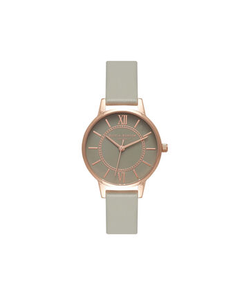 OLIVIA BURTON LONDON  Wonderland Grey & Rose Gold Watch OB15WD57 – Midi Dial Round in Rose Gold and Grey - Front view