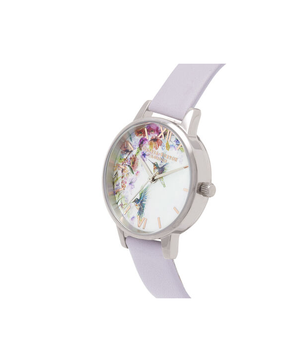 OLIVIA BURTON LONDON  Painterly Prints Parma Violet, Rose Gold & Silver OB16PP50 – Midi Dial Round in Silver and Rose Gold - Side view