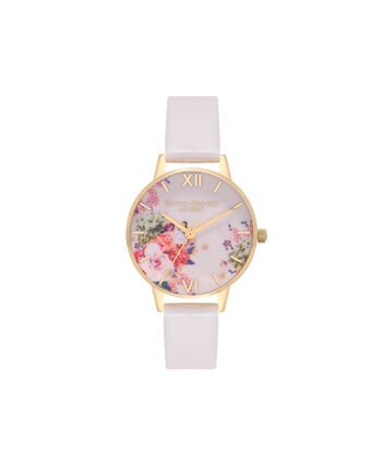 OLIVIA BURTON LONDON  Enchanted Garden Nude & Gold Watch OB16EG92 – Midi Dial Round in Gold and Nude - Front view