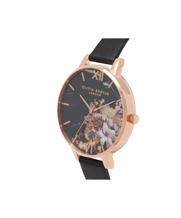 OLIVIA BURTON LONDON  Marble Floral Black & Rose Gold Watch OB16CS01 – Big Dial Round in Floral and Black - Side view