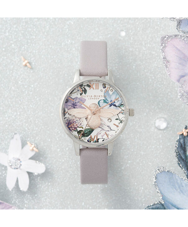 OLIVIA BURTON LONDON Bejewelled Florals Midi 3D Bee Parma Violet, Rose Gold & SilverOB16BF22 – Demi Dial In Parma Violet And Silver - Front view