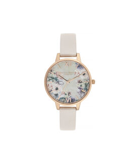 Watercolour Florals Demi Dial Watch with Nude Mother-Of-Pearl