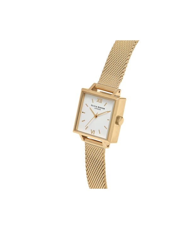 OLIVIA BURTON LONDON Square Dial Gold Mesh Watch OB16SS04 – Midi Square in White and Gold - Side view