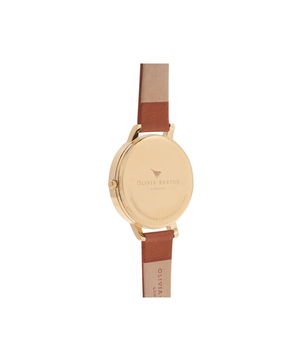 OLIVIA BURTON LONDON  Big Dial Tan And Gold Watch OB13BD09 – Big Dial Round in Gold and Tan - Back view