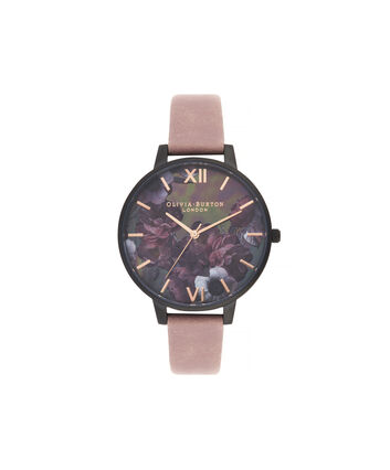 OLIVIA BURTON LONDON After Dark Big Dial Watch with Black Mother-Of-PearlOB16AD38 – Big Dial in pink and Black & Rose Gold - Front view