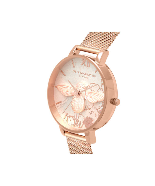 OLIVIA BURTON LONDON  Abstract Florals Rose Gold Mesh OB16VM26 – Big Dial Round in Rose Gold - Side view