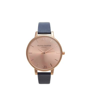 OLIVIA BURTON LONDON Sunray DialOB13BD13B – Big Dial Round in Rose Gold and Navy - Front view
