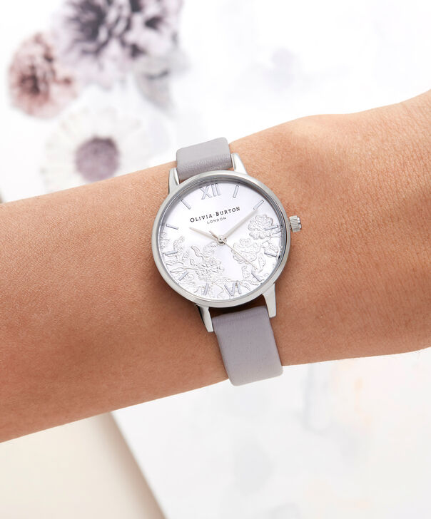 OLIVIA BURTON LONDON  Lace Detail Grey Lilac & Silver Watch OB16MV76 – Midi Dial Round in Grey Lilac and Silver - Other view