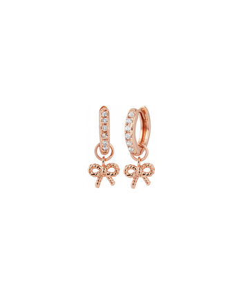 OLIVIA BURTON LONDON  Vintage Bow Huggie Hoop Rose Gold & White Topaz Earrings OBJ16VBE17 – Vintage Bow Huggie Hoop - Front view