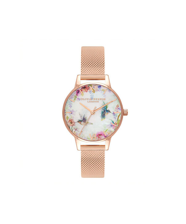 OLIVIA BURTON LONDON Painterly Prints Rose Gold MeshOB16PP49 – Midi Dial Round in Rose Gold - Front view