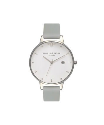 OLIVIA BURTON LONDON  Queen Bee Big Dial Silver Watch OB16AM116 – Big Dial Round in White and Silver - Front view