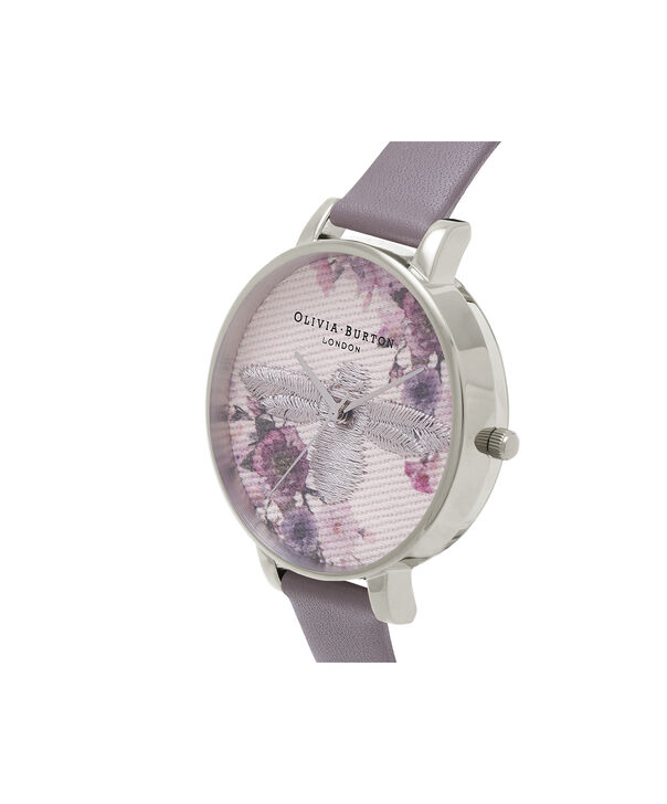 OLIVIA BURTON LONDON  Embroidered Dial 3D Bee London Grey and Silver Watch OB16EM05 – Midi Dial Round in Floral and London Grey - Side view