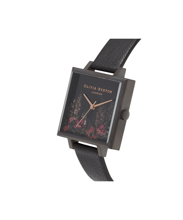 OLIVIA BURTON LONDON  After Dark Floral Big Square Dial Matte Black & Rose Gold Watch OB16AD17 – Big Dial Square in Floral and Black - Side view