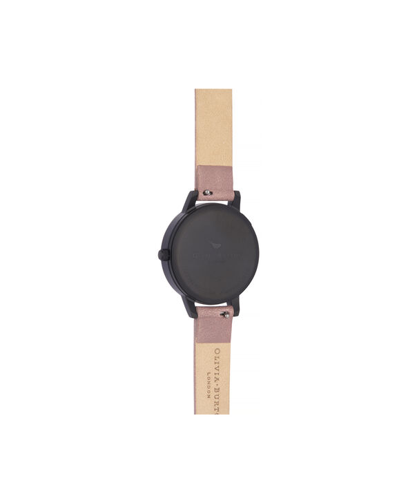 OLIVIA BURTON LONDON Blooms & Butterflies Garden Rose Suede And Rose GoldOB16EX109 – Midi Dial In Rose Suede And Ip Black And Rose Gold - Back view