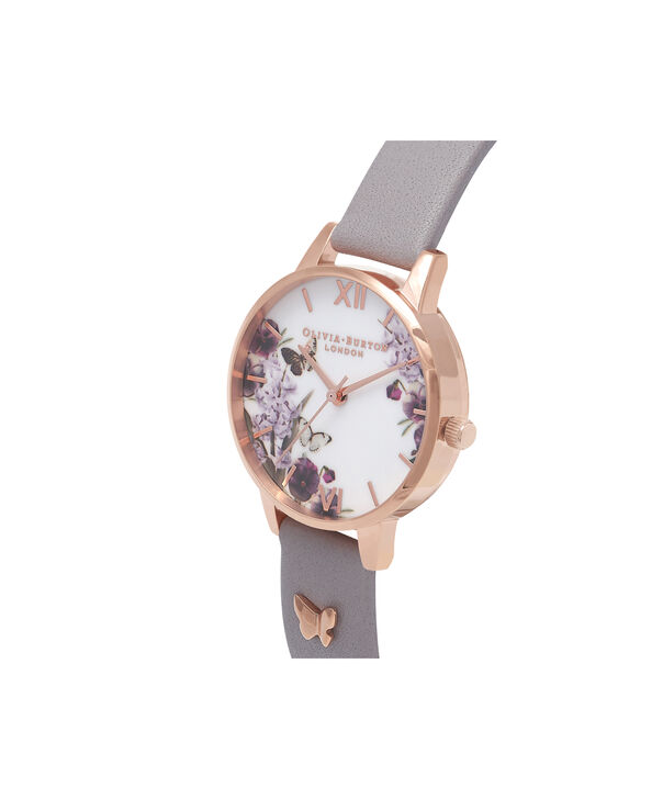OLIVIA BURTON LONDON  Enchanted Garden Grey Lilac & Rose Gold Watch OB16ES05 – Midi Dial Round in Rose Gold and Grey Lilac - Side view