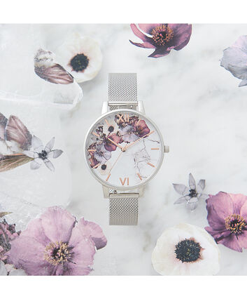 OLIVIA BURTON LONDON  Marble Floral Mesh, Rose Gold & Silver OB16MF09 – Big Dial Round in Silver , Rose Gold and Silver - Front view