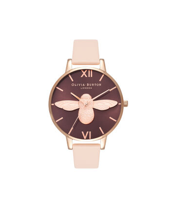 OLIVIA BURTON LONDON  3D Bee Nude Peach & Rose Gold Watch OB16AM99 – Big Dial in Chocolate and Peach - Front view