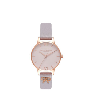 OLIVIA BURTON LONDON Vintage Bow Grey Lilac & Rose Gold Watch OB16VB05 – Midi Dial in Blush and Grey Lilac - Front view